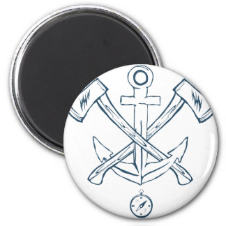 Anchor with crossed axes. Design elements 2 Inch Round Magnet
