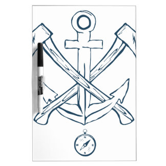 Anchor with crossed axes. Design elements Dry Erase White Board