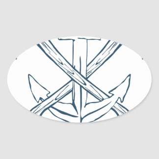Anchor with crossed axes. Design elements Oval Sticker
