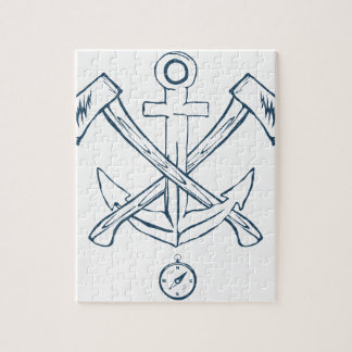 Anchor with crossed axes. Design elements Puzzle