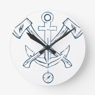 Anchor with crossed axes. Design elements Round Clock
