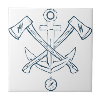 Anchor with crossed axes. Design elements Tiles