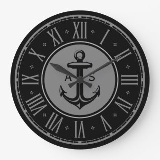 Anchor with initials | Nautical Gifts Large Clock