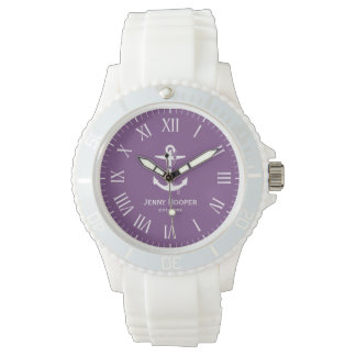 Anchor with name and date | Purple Nautical Gifts Watch