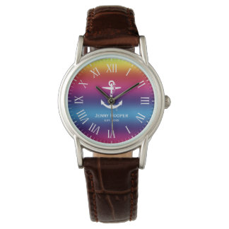 Anchor with name and date | Rainbow Nautical Gifts Watch
