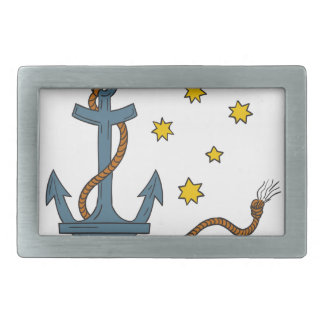 Anchor with Rope and Southern Star Drawing Belt Buckles