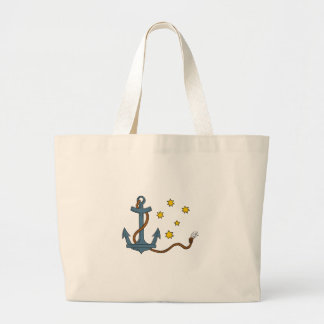 Anchor with Rope and Southern Star Drawing Large Tote Bag