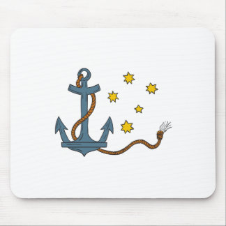 Anchor with Rope and Southern Star Drawing Mouse Pad
