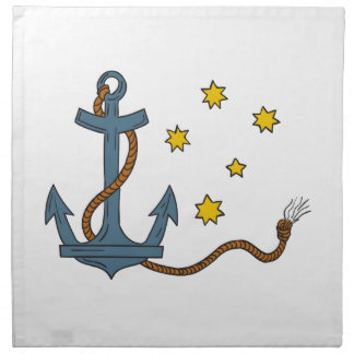 Anchor with Rope and Southern Star Drawing Napkin