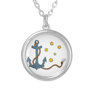 Anchor with Rope and Southern Star Drawing Silver Plated Necklace