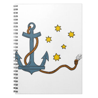 Anchor with Rope and Southern Star Drawing Spiral Note Book