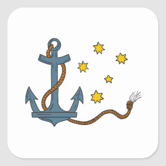 Anchor with Rope and Southern Star Drawing Square Sticker