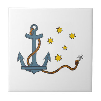 Anchor with Rope and Southern Star Drawing Tile
