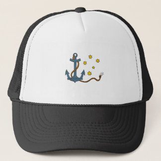 Anchor with Rope and Southern Star Drawing Trucker Hat