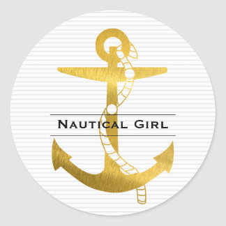 Anchor with Rope | Nautical Girl Classic Round Sticker