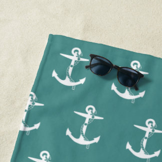 Anchor with Rope Pattern | Nautical Beach Towel