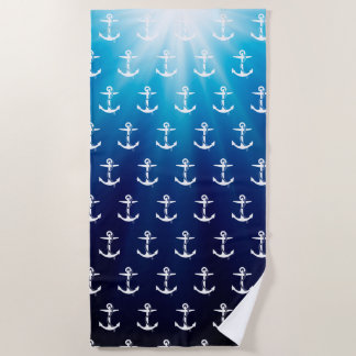 Anchor with Rope Pattern | Nautical Gifts Beach Towel