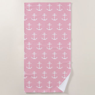Anchor with Rope Pattern | Pale Pink Nautical Beach Towel