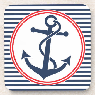 Anchor with Stripes Beverage Coasters