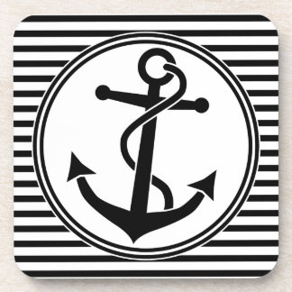 Anchor with Stripes Drink Coaster
