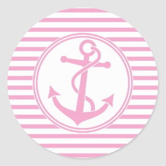 Anchor with Stripes Round Sticker