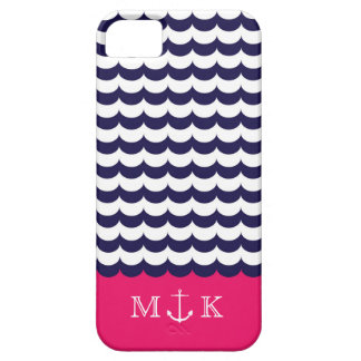 Anchor with Waves and Monogram Navy & Hot Pink Case For The iPhone 5