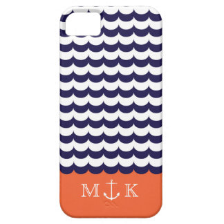 Anchor with Waves and Monogram Navy & Orange iPhone 5 Cover