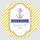 Anchor yellow white nautical wedding Save the Date Classic Round Sticker