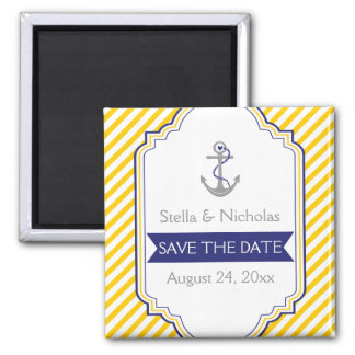 Anchor yellow white nautical wedding Save the Date Square Magnet