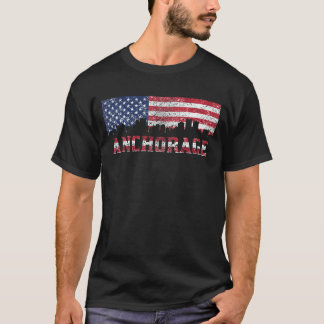 Anchorage AK American Flag Skyline T-Shirt