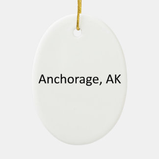 Anchorage, AK Ceramic Oval Ornament