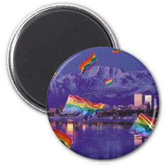 Anchorage, AK Flying Pride 2 Inch Round Magnet