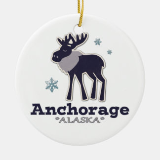 Anchorage Alaska blue moose winter Ceramic Ornament
