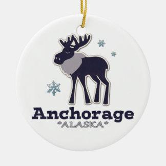 Anchorage Alaska blue moose winter Round Ceramic Ornament