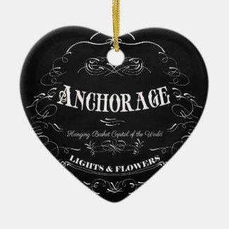 Anchorage Alaska - Lights & Flowers Ceramic Heart Ornament