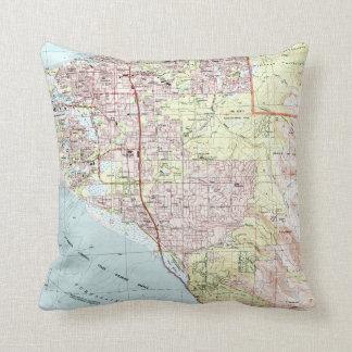 Anchorage Alaska Map (1994) Throw Pillow