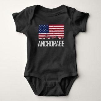 Anchorage Alaska Skyline American Flag Distressed Baby Bodysuit
