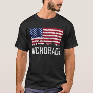 Anchorage Alaska Skyline American Flag Distressed T-Shirt