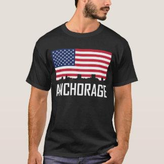 Anchorage Alaska Skyline American Flag T-Shirt
