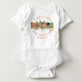 Anchorage Alaska Skyline SG-Faded Glory Baby Bodysuit