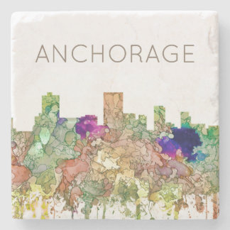Anchorage, Alaska Skyline SG-Faded Glory Stone Coaster