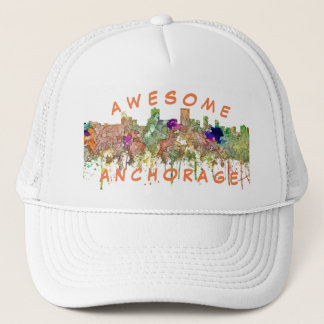 Anchorage Alaska Skyline SG-Faded Glory Trucker Hat