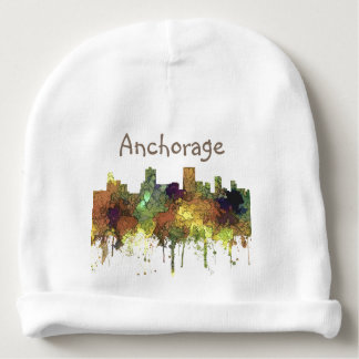 Anchorage, Alaska Skyline - SG Safari Buff Baby Beanie