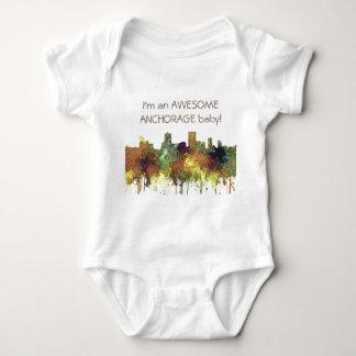 Anchorage, Alaska Skyline - SG - Safari Buff Baby Bodysuit