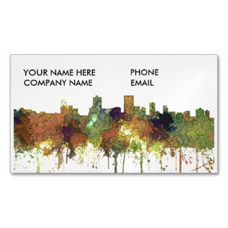 Anchorage Alaska Skyline SG-Safari Buff Business Card Magnet