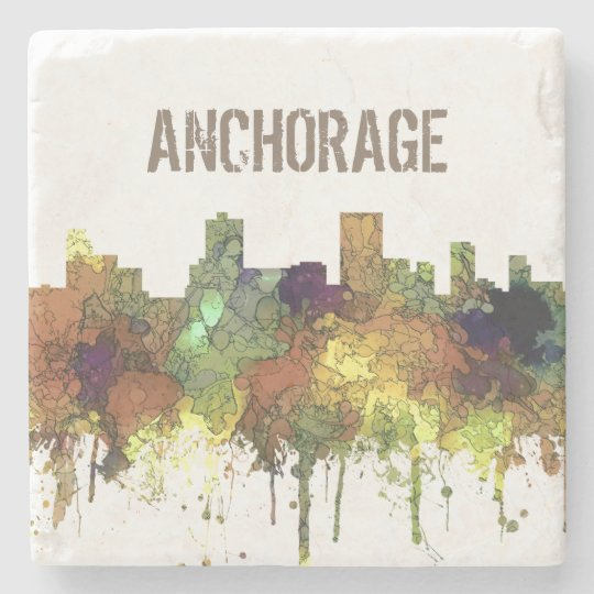 Anchorage, Alaska Skyline - SG - Safari Buff Stone Coaster