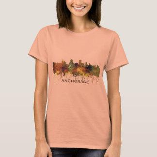 Anchorage, Alaska Skyline - SG - Safari Buff T-Shirt
