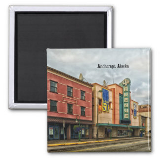 Anchorage Cityscape Square Magnet