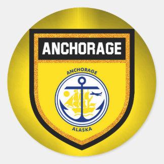 Anchorage Flag Classic Round Sticker
