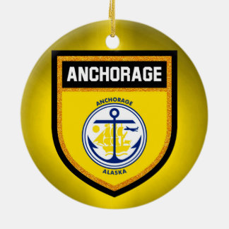 Anchorage Flag Round Ceramic Ornament